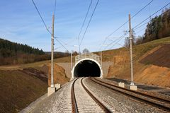 Tunnel and railway. Construction railway's corridor in Czech republic Royalty Free Stock Photos