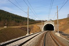 Tunnel and railway. Construction railway's corridor in Czech republic Royalty Free Stock Image