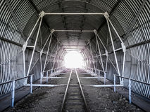 Tunnel on the railway tracks. Tunnel construction Royalty Free Stock Photos