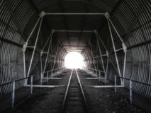 Tunnel on the railway tracks. Tunnel construction Stock Photo