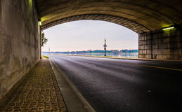Tunnel on a road along the Potomac River in Washington, DC. Stock Images
