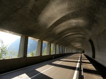 Tunnel road in Alps Royalty Free Stock Image