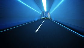 Tunnel road with neon light. Tunnel road with speed motion blur effect Stock Photo