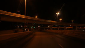 Tunnel road at night. Tunnel road in a city at night stock footage