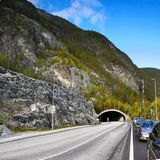 Magic Glacier Valley Tunnel Road Royalty Free Stock Photography
