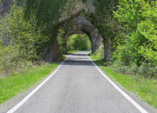Tunnel, road trip. In Huesca Stock Photo