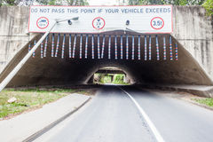 Tunnel Road Warnings Restrictions Stock Images