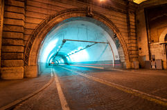 Tunnel in Rome, Italy by night Royalty Free Stock Images