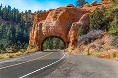 Tunnel rouge de canyon, Utah Photo libre de droits