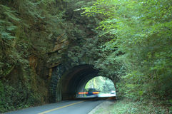 Tunnel Rush. Car passing through tunnel in Great Smoky Mountains National Park. Slow shutterspeed produced blurred effect stock photos