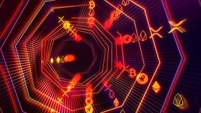 Tunnel sans couture futuriste de cyberespace de technologie avec la boucle de courant de cryptocurrency illustration libre de droits