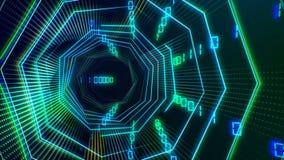 Tunnel sans couture futuriste de cyberespace de technologie avec la boucle de courant de l'information illustration libre de droits