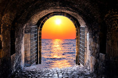 Tunnel and sea Royalty Free Stock Photos