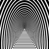 Tunnel, semicircular arch with floor leaving into the distance,. Black and white geometric pattern Stock Image