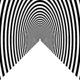 Tunnel, semicircular arch leaving into the distance, black and w. Hite geometric pattern stock illustration