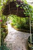 Tunnel shape walk way in butterfly garden Stock Image