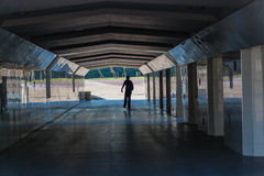 Tunnel Skateboarder Pushing Exits Stock Image