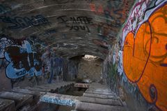Tunnel with Something to Say. Tunnel at American Flats near Virginia City Nevada is covered in generations of graffiti. Very Hi-Res Royalty Free Stock Photography