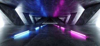 Tunnel sotterraneo Hall Glowing White della pista di Sci Fi dell'astronave del cemento del garage concreto luminoso straniero fut illustrazione vettoriale