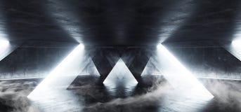 Tunnel sotterraneo Hall Glowing White Windows White dell'astronave di Sci Fi del fumo del cemento del garage concreto luminoso st royalty illustrazione gratis