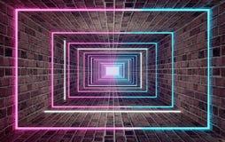 Tunnel sotterraneo lungo del mattone con la rappresentazione delle luci al neon 3d illustrazione vettoriale