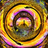 Tunnel of souls. Abstract painting. Figure of man on stone`s road to another world. Warped space. Human elements were created with 3D software and are not from Stock Photos