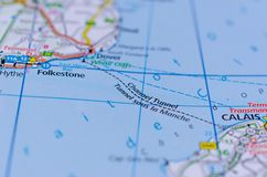 Tunnel sous la Manche sur la carte Image stock