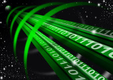 Tunnel in the space. Green astral space tunnel, binary code and globe Stock Photography