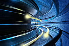 Tunnel of speed. Bolts of light speeding through the acceleration tunnel royalty free illustration