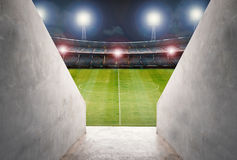 Tunnel in stadium with green field Royalty Free Stock Photos