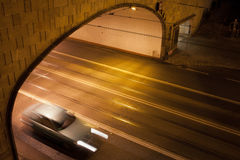 Tunnel Street at Night in Warsaw Royalty Free Stock Photos