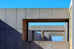 Tunnel-style building structure, Salk Institute. The historical architecture landmark, which is a famous Biological research institute founded by Jonas Salk and Royalty Free Stock Image