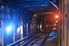 Tunnel Subway. A Tunnel Subway Line in New York City Stock Photos