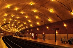 Tunnel of subway, Monaco station Royalty Free Stock Photos