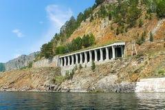 Tunnel sulla ferrovia di circum-baikal Immagine Stock