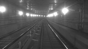 In the tunnel. Time lapse. In the tunne. Time lapse. Black and white version stock footage