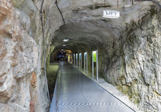 Tunnel to the elevator under Schlossberg in Graz, Austria. Royalty Free Stock Photos