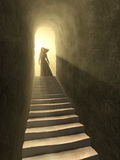 Tunnel to light. Female figure standing at the exit of an old tunnel. Digital illustration Stock Photography
