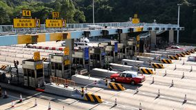 Tunnel toll booths stock footage