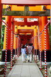 Tunnel of torii gates at Fushimi-Inari Shrine Stock Image
