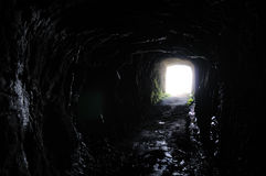 Tunnel toward the light. Tunnel near Pico do Arieiro, Madaira, Portugal Stock Photography