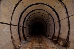Tunnel and tracks. The old railway tunnel stock image