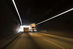 Tunnel Traffic, With End of the Tunnel Visible Royalty Free Stock Images