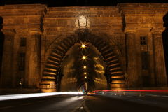 Tunnel Traffic at Night Royalty Free Stock Photo