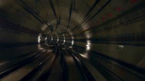 Tunnel train speed. Viewed from the transit system tunnel stock video footage