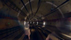 Tunnel train speed. Viewed from the transit system tunnel stock footage