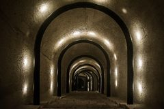 The Tunnel. A tunnel with archways located in Valletta, Malta Stock Photos
