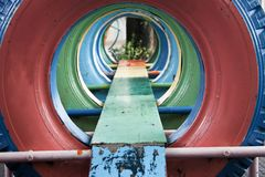 Tunnel of tyre Stock Images