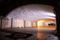 Tunnel under the bridge nightscape Stock Photography