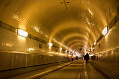 Tunnel under the Elbe river in Hamburg, Germany Royalty Free Stock Image